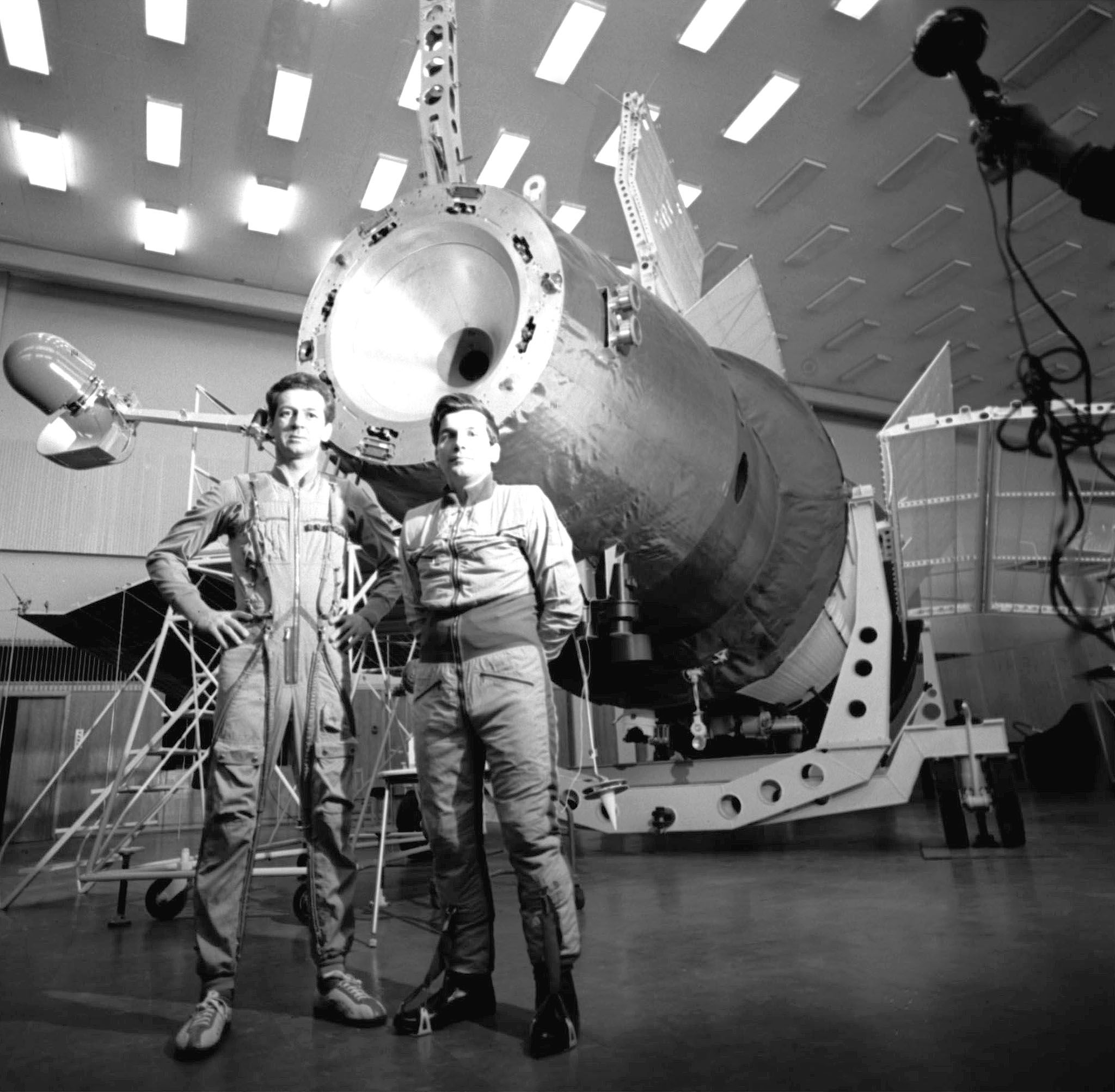 Salyut 4 orbital station second crew members Pyotr Klimuk and Vitaly Sevastyanov before training session, 1975