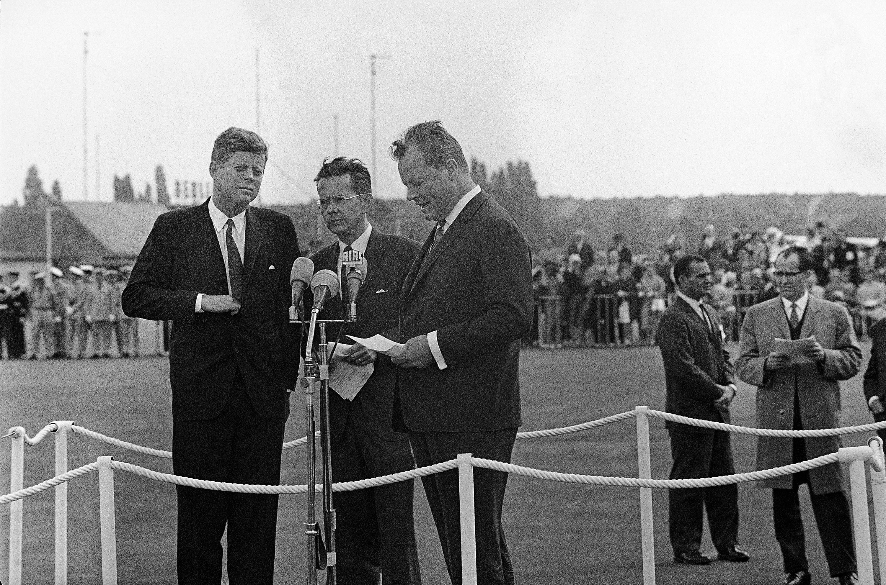 John F. Kennedy and Willy Brandt Speaking