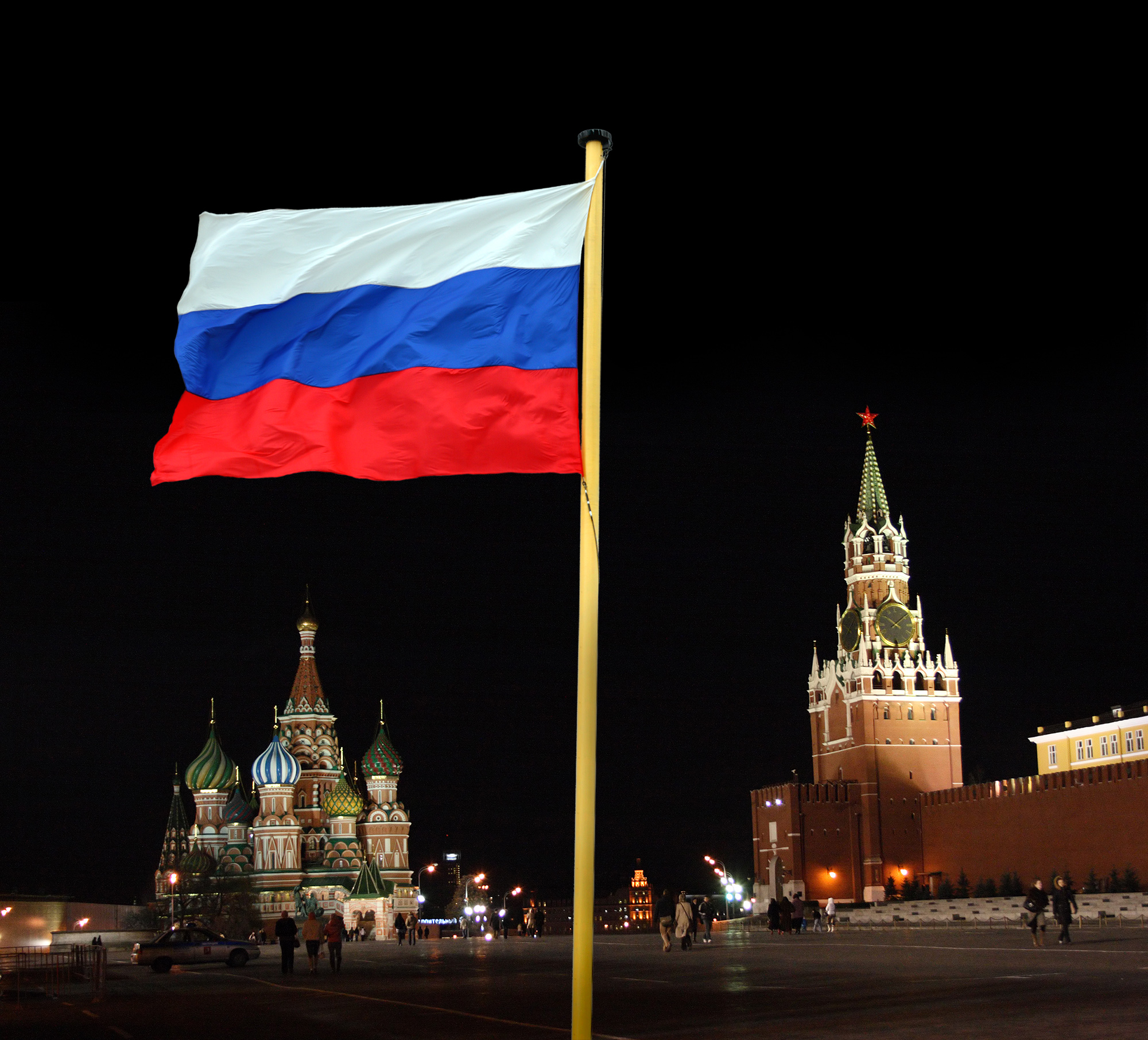 russian national flag on kremlin background