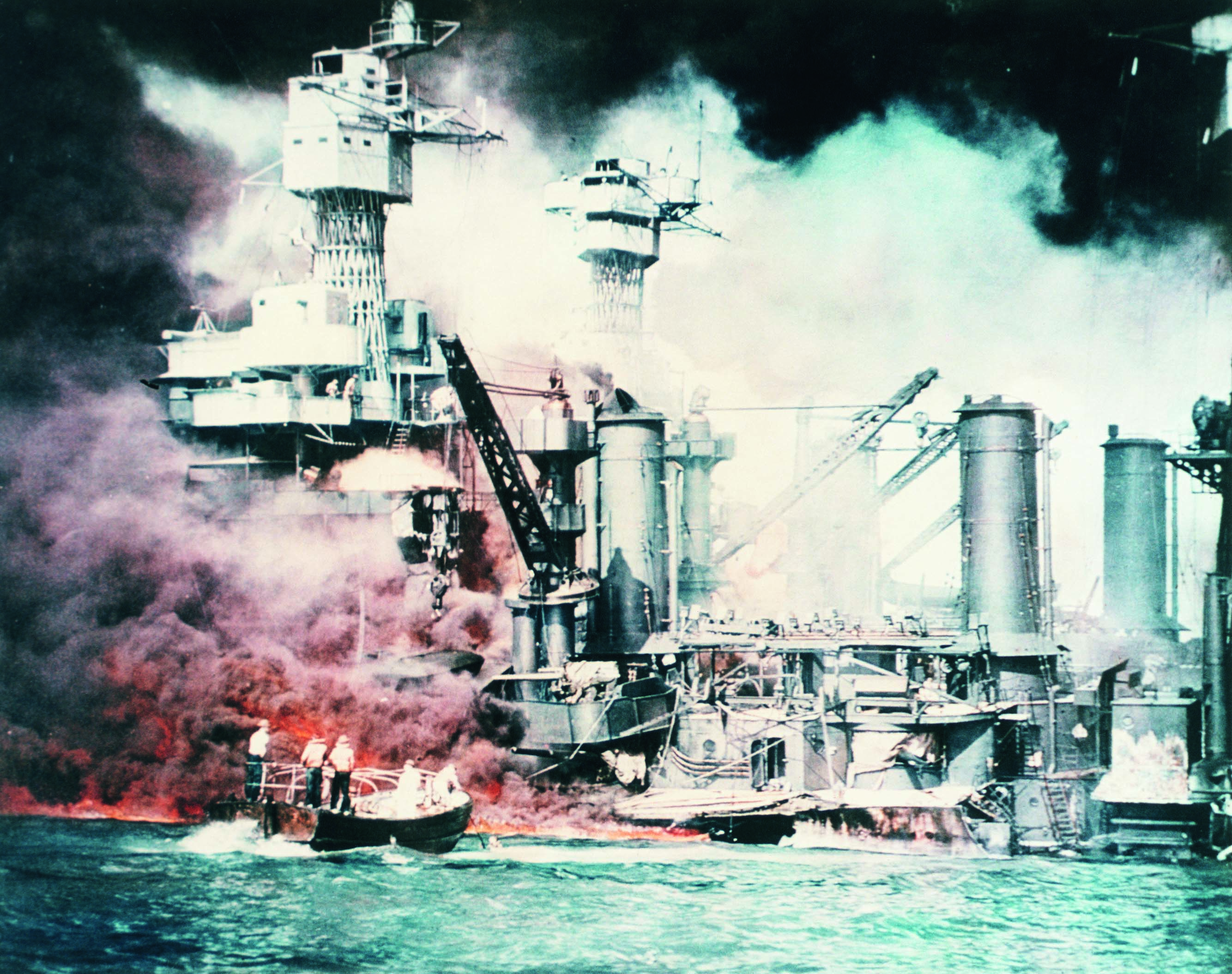 Battleships Burning at Pearl Harbor