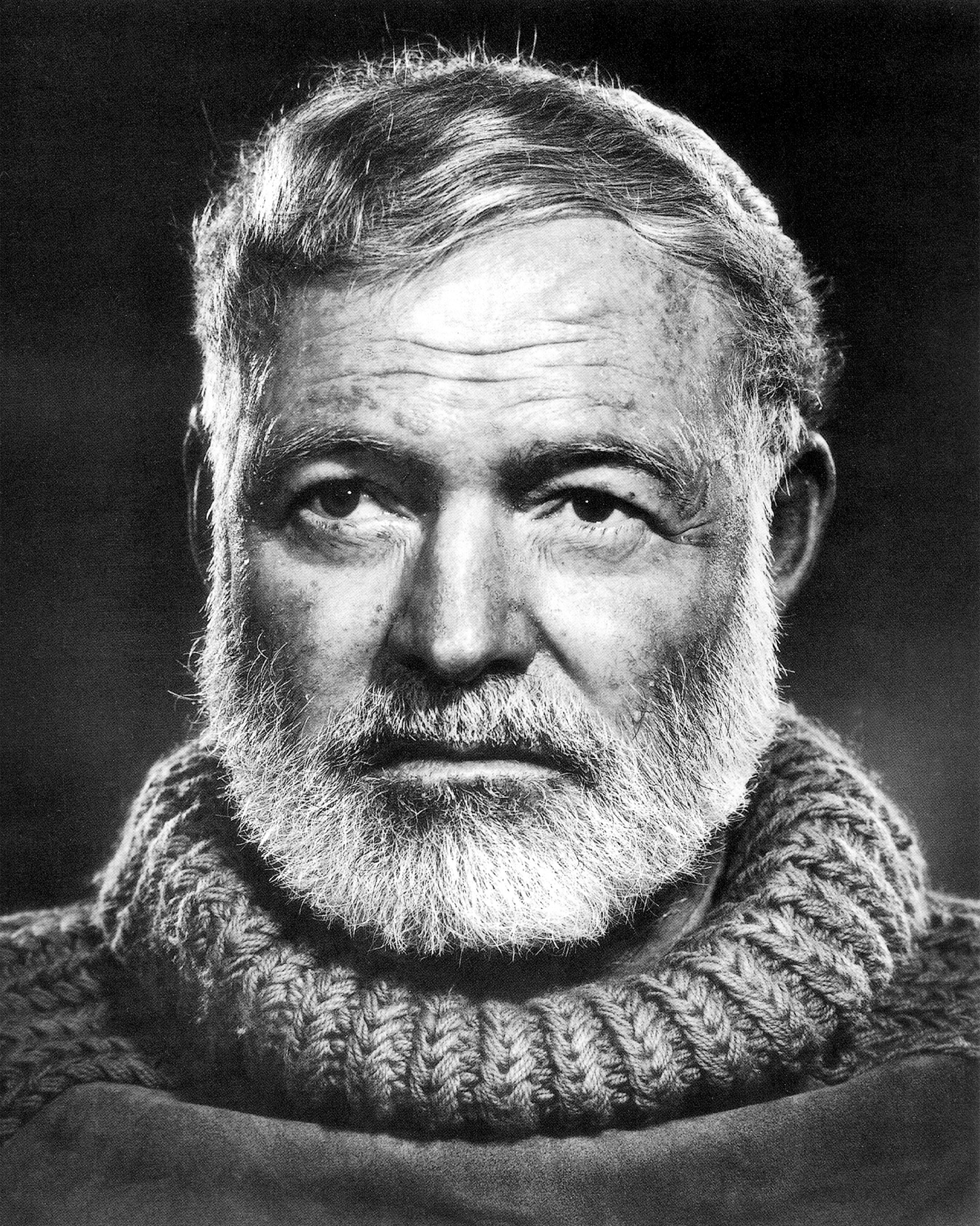 "KRT ENTERTAINMENT STORY SLUGGED: HEMINGWAY KRT PHOTOGRAPH BY YOUSEF KARSH COURTESY OF THE JOHN F. KENNEDY LIBRARY (KRT8-July 19) Photographer Yousef Karsh took this famous portrait of Ernest Hemingway in 1957. It is found in the exhibit, ""Picturing Hemingway: A Writer in His Times,"" on view at the National Portrait Gallery in Washington, D.C., through November 7. (KRT) PL KD AP (B&W ONLY) 1999 (Vert) (jak) (Additional photos available on KRT Direct, KRT/PressLink or upon request)"