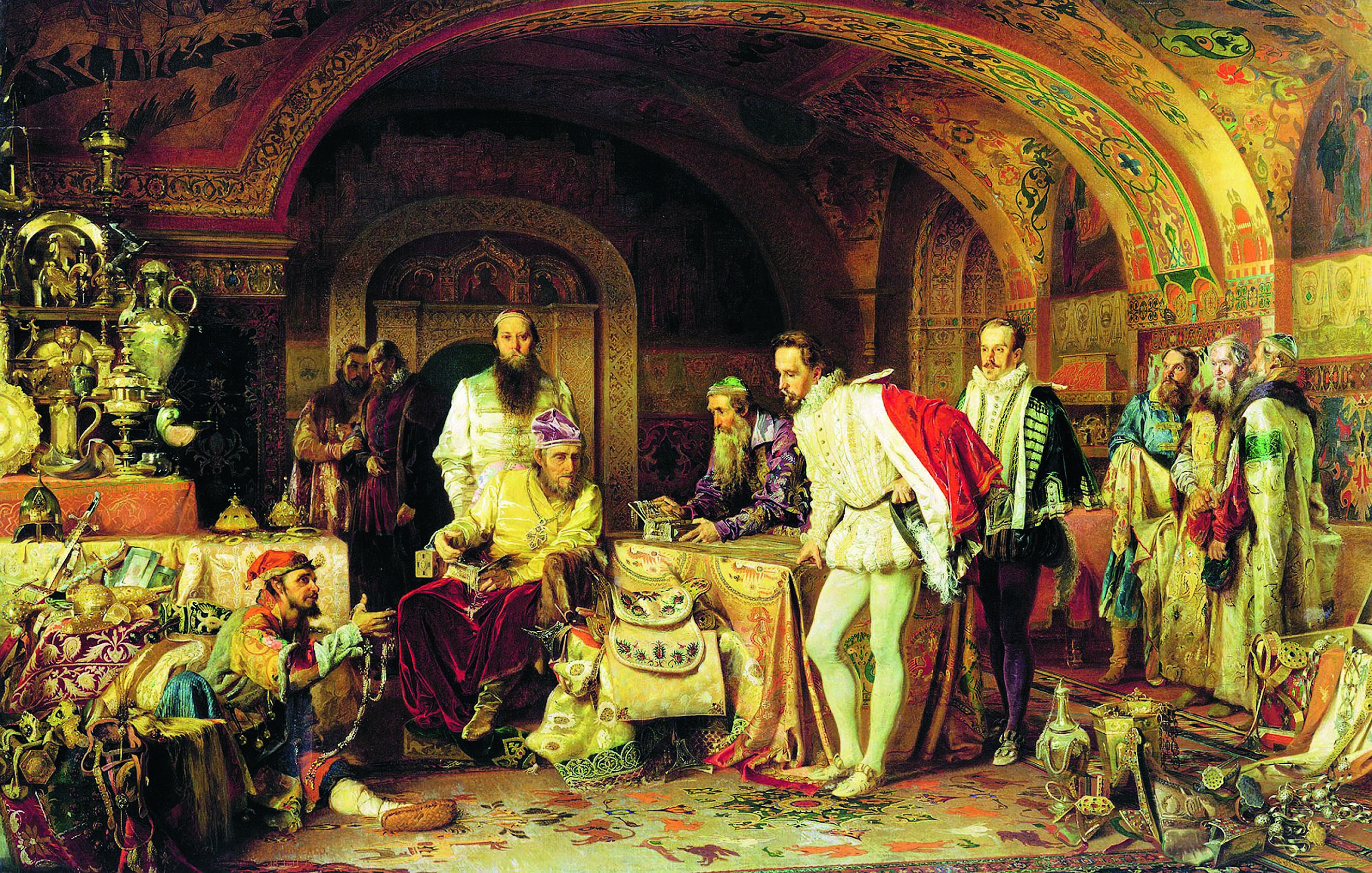 Alexander Dmitrievich Litovchenko - Ivan IV of Russia Demonstrates His Treasures to the Ambassador of Queen Elizabeth